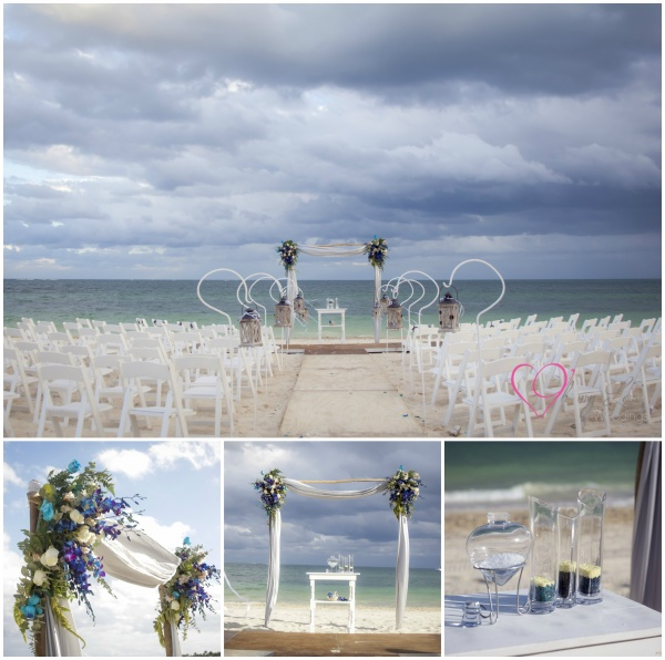 Beach ceremony white and navy blue in Jardin del Mar