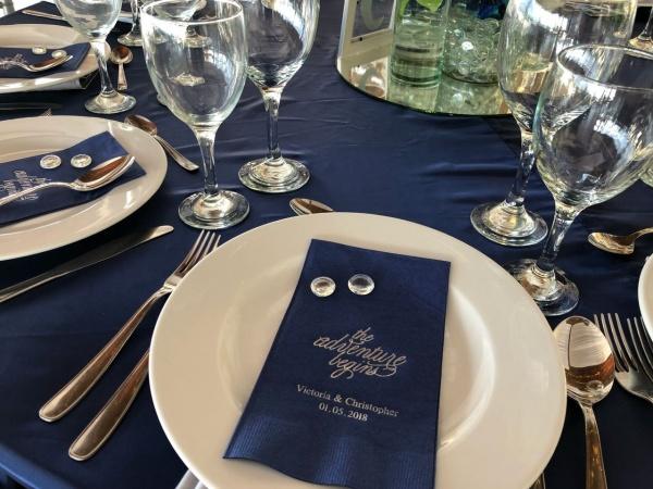 navy blue wedding napkin