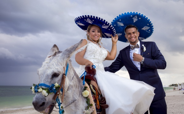 bride and goom with donkey