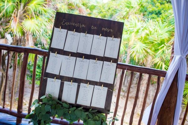 Rustic boho seating chart Grand Sirenis Riviera Maya weddings
