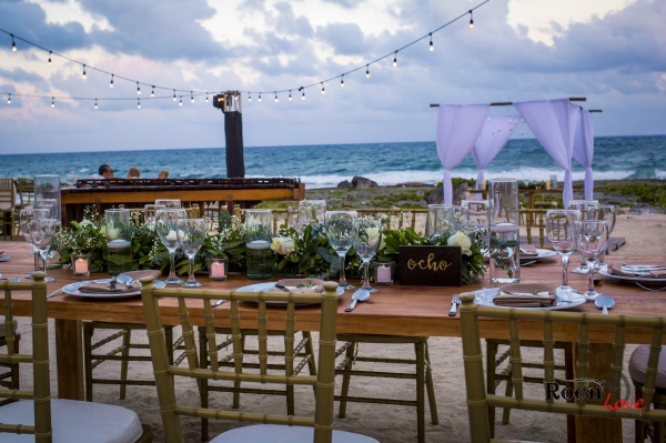 Rustic and organic wedding reception Grand sirenis Riviera Maya