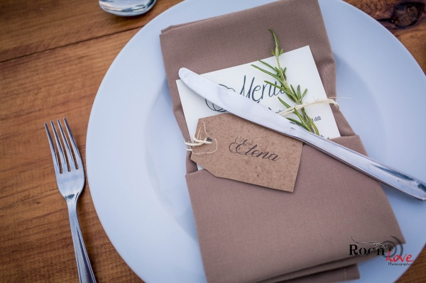 Wedding menu napkins tablescape