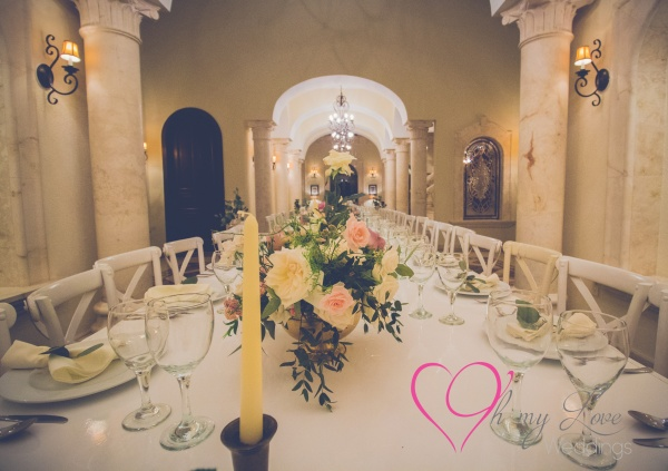 Dusty rose and gold wedding centerpieces Villa la joya weddings