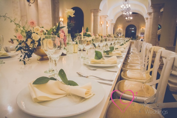 Dusty rose and gold wedding centerpieces