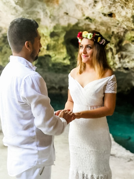 mayan wedding in cenote  tulum