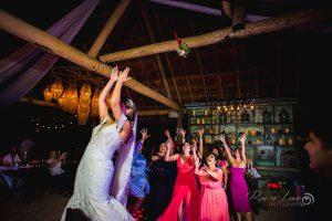 bouquet toss wedding at punta venado venue