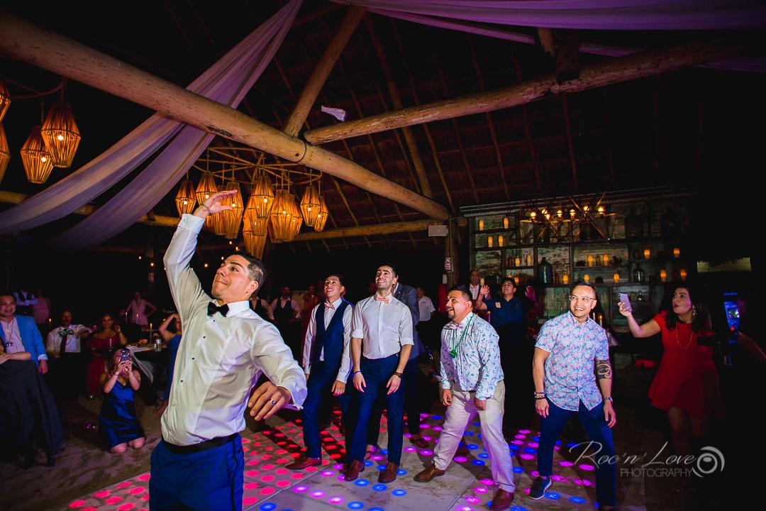 garter toss wedding at punta venado venue