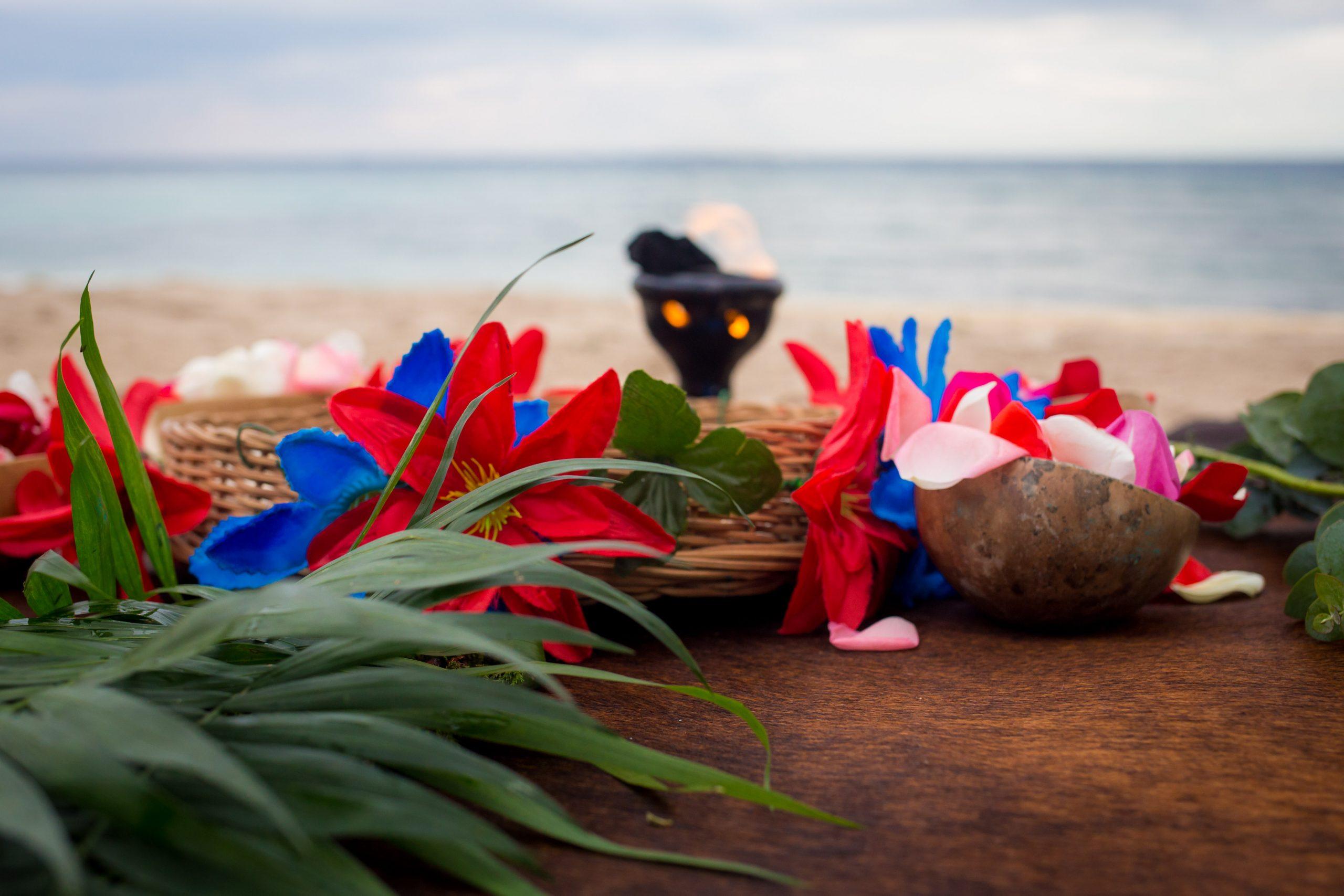 Mayan ceremony set up punta venado venue