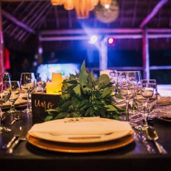 table set up greenery wedding punta venado venue